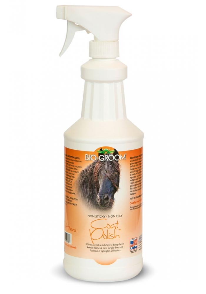 Спрей-блеск антиколтун для лошадей, Bio-Groom Coat Polish Horse, 946 мл