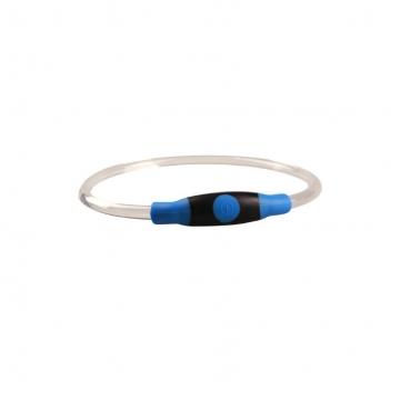 Светящийся силиконовый ошеник с регулировкой длины, голубой,  Грызлик Ам 50.GR.004