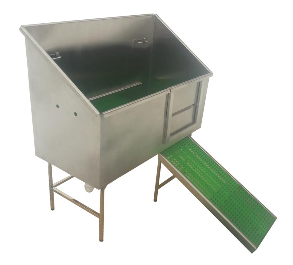 Ванна для груминга с дверцей и трапом MasterGroom Т1, металлическая (нержавейка)