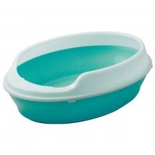 Туалет для кошек овальный с бортом (55х41х15см), V.I.Pet P155