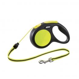 Поводок-рулетка, трос 5 метров, для собак до 20кг, Flexi New Neon M Cord