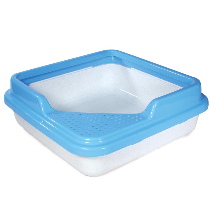 Туалет для кошек с бортом, белый с голубым(43х43х14см) Triol P755