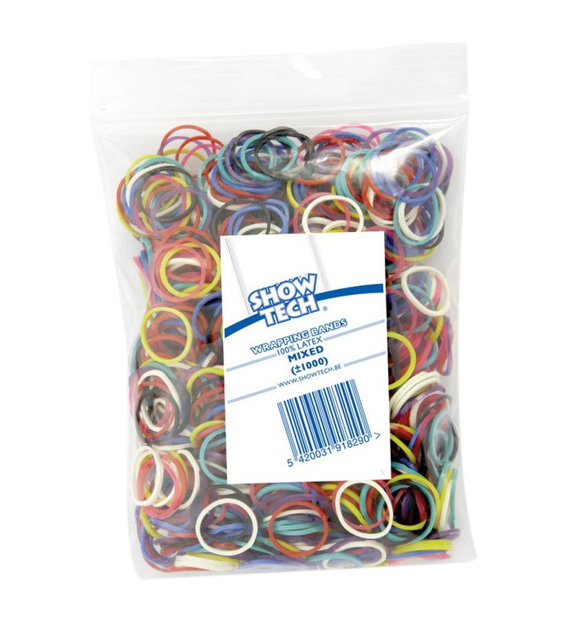 Резиночки для папильоток разноцветные 16мм, Show Tech 1000шт
