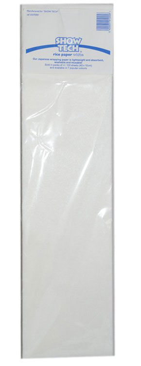 Рисовая бумага для папильоток, белая (10х40см), Show Tech Rice Paper 100шт