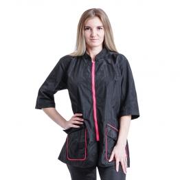 Блуза грумера, модель Pulsar Лого, черная с розовым кантом Space Groom
